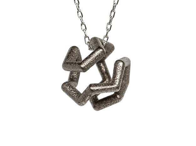 Icosian Pendant in Polished Nickel Steel