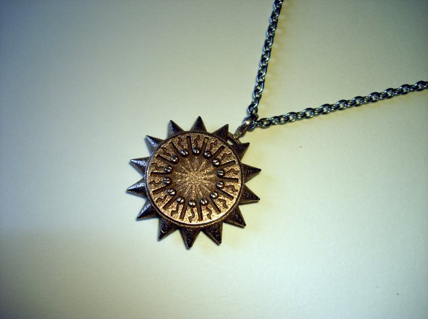 Steampunk Spiked Sun Pendant in Polished Bronzed Silver Steel