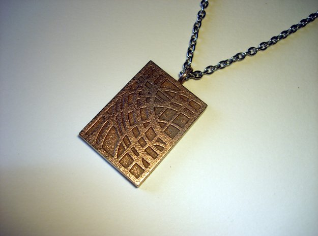 World Pendant in Polished Bronzed Silver Steel