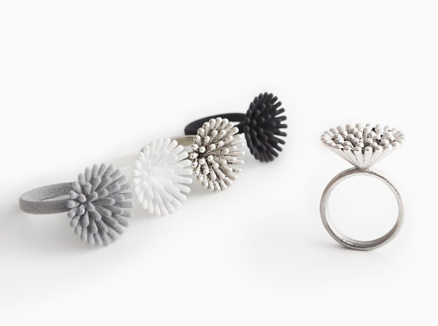 Spike Ring - US 7 size in Polished Nickel Steel