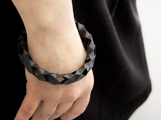 Medium Size - Polygonal Bracelet in Black Natural Versatile Plastic