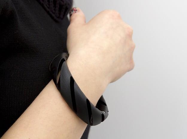 Medium Size - Cutted Bracelet in Black Natural Versatile Plastic