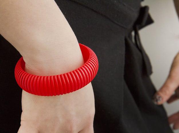 Medium Size - Cutted Ellipse Bracelet in Red Processed Versatile Plastic