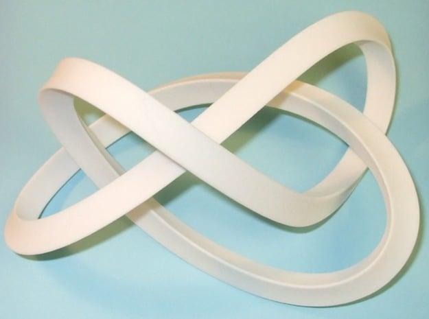 Large Mobius Figure 8 Knot in White Processed Versatile Plastic