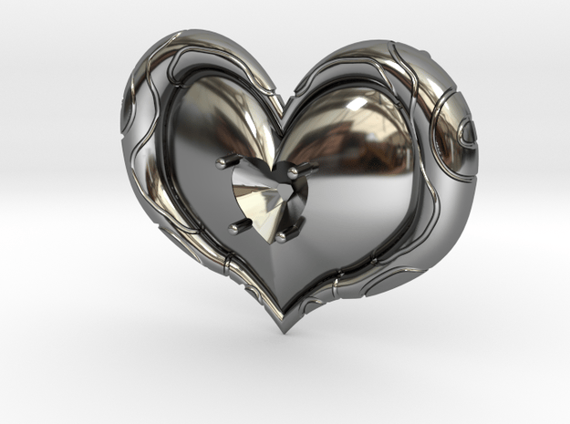 Twilight Princess Heart Container Gem Setting in Fine Detail Polished Silver