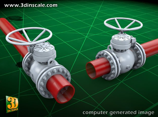 Pipeline accessory system Valve1 in Smooth Fine Detail Plastic