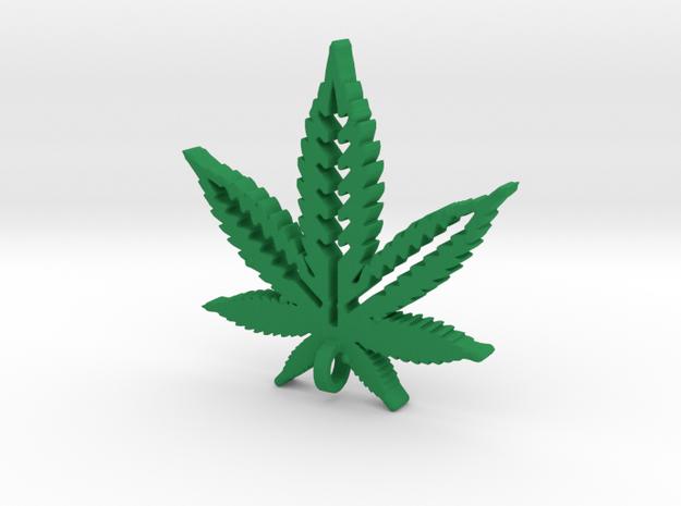 Marijuana Pendant in Green Processed Versatile Plastic