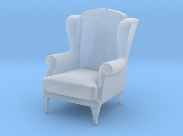 Miniature 1:48 Wingback Chair in Smooth Fine Detail Plastic