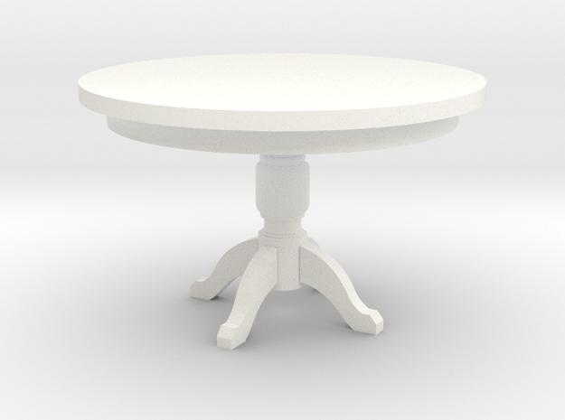 Miniature 1:48 Kitchen Table in White Processed Versatile Plastic
