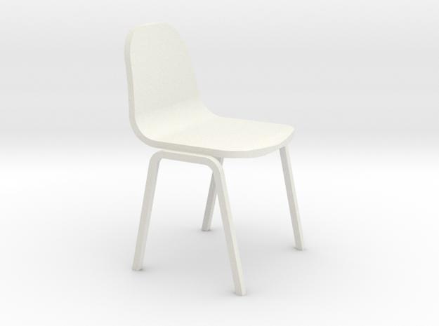 Miniature 1:24 Plastic School Chair in White Natural Versatile Plastic