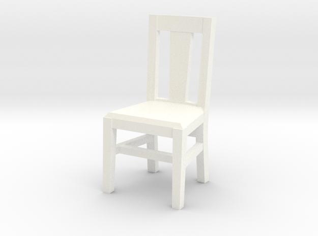 Miniature 1:48 Kitchen Chair in White Processed Versatile Plastic