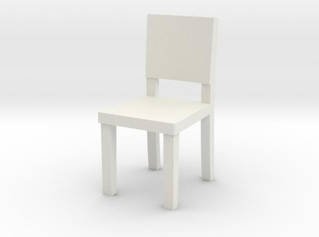 Miniature 1:48 Simple Chair in White Natural Versatile Plastic