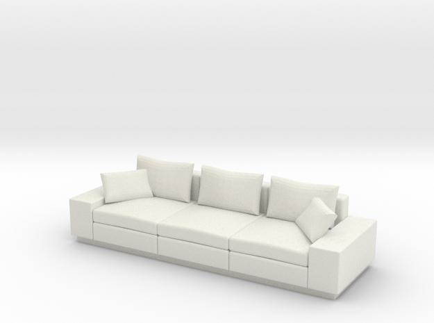 Miniature 1:24 Modern Sofa in White Natural Versatile Plastic