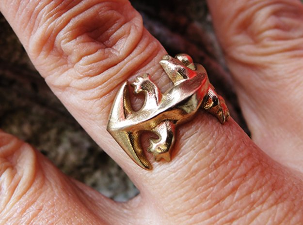 Diplocaulus Ring -Small- (Free-size) in Natural Brass