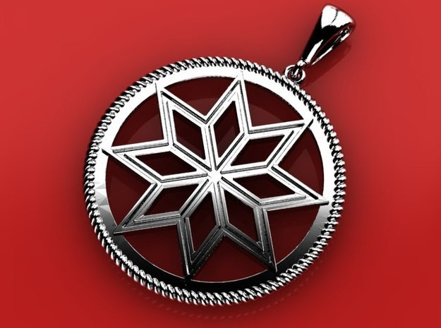 Alatyr pendant amulet in Fine Detail Polished Silver
