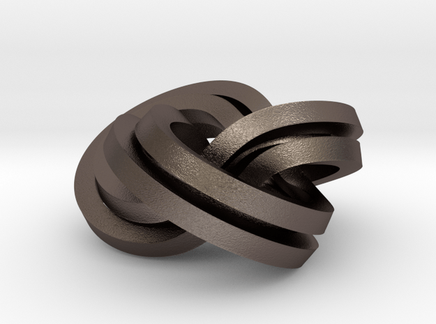 Torus Knot Knot (2,3),(3,2) in Polished Bronzed Silver Steel