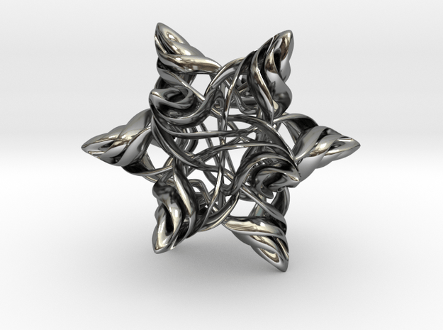 Rhombic Triacontahedron V, medium in Fine Detail Polished Silver