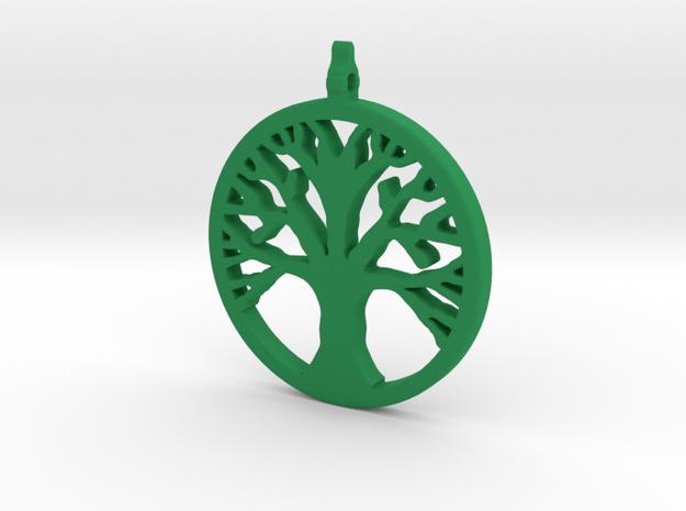 Tree Pendant in Green Processed Versatile Plastic