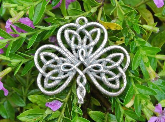 Shamrock Knot Pendant 1.25 Inch in Polished Bronzed Silver Steel