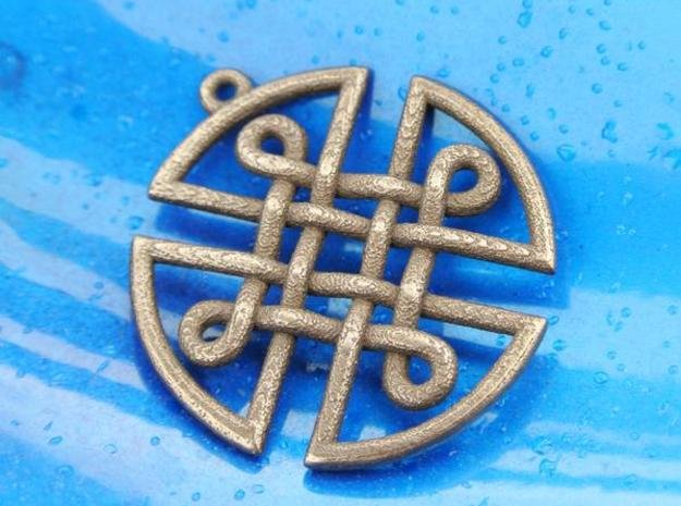Celtic Shield Pendant in Polished Bronze Steel