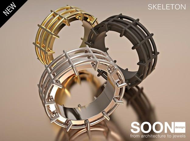 SKELETON  RING SIZE 7 in Polished Brass