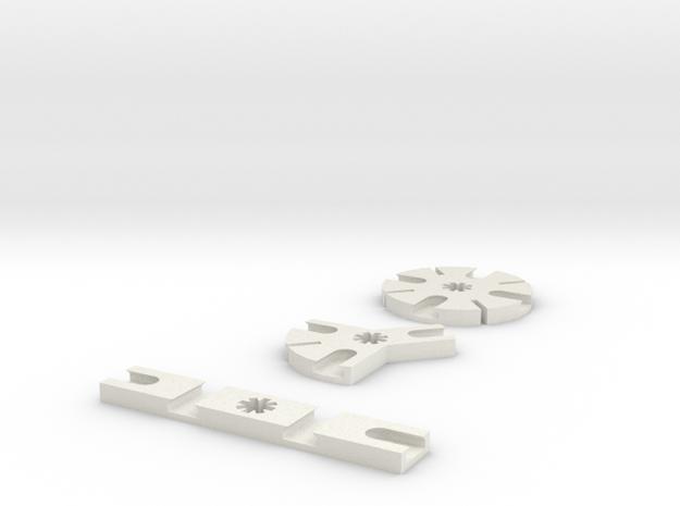 Iceblock Stick Joiners (set of 3) in White Natural Versatile Plastic