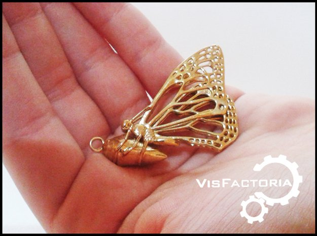 Butterfly Cocoon pendant in Polished Brass
