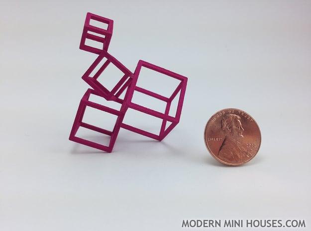 Cubed Art Sculpture 1:12 scale in Pink Processed Versatile Plastic