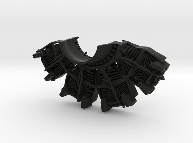 RC Faux Radial Engine_TOP in Black Natural Versatile Plastic