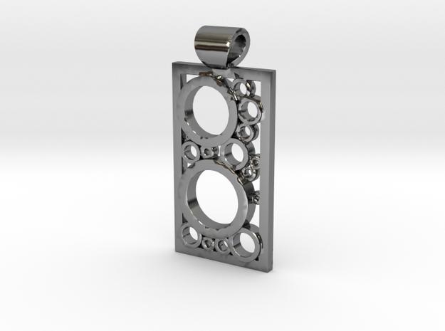 Encased Rings Pendant in Fine Detail Polished Silver
