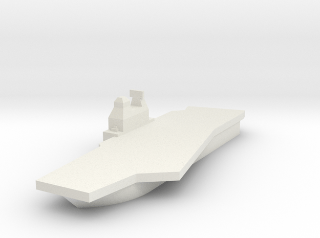 Generic Angled Deck Aircraft Carrier in White Natural Versatile Plastic