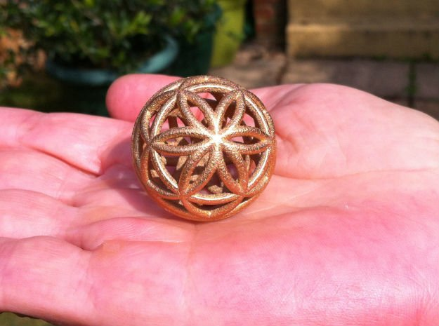 3D 25mm Orb of Life (3D Seed of Life)  in White Natural Versatile Plastic
