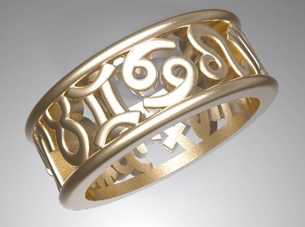 Constellation symbol ring 8.5 in Polished Gold Steel