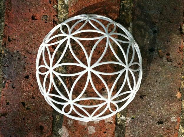 3D 300mm Half Orb of Life (3D Flower of Life)  in White Natural Versatile Plastic