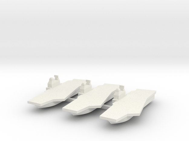 Generic Angled Deck Aircraft Carrier X 3 in White Natural Versatile Plastic