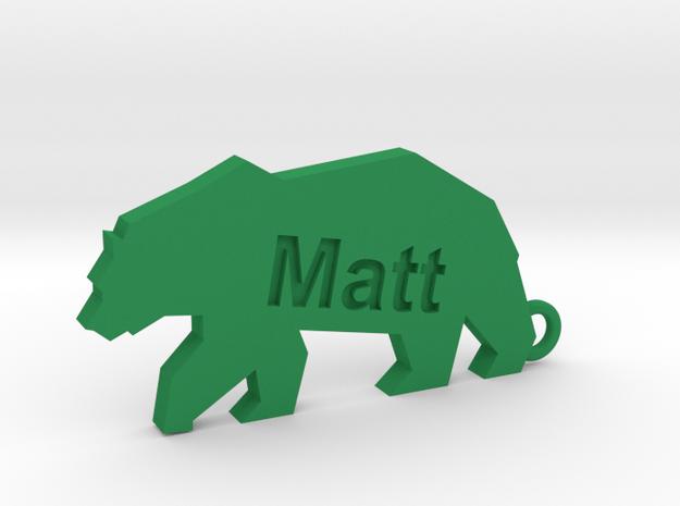 Keychain for Matt in Green Processed Versatile Plastic