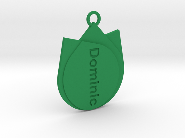 Keychain for Dominic  in Green Processed Versatile Plastic
