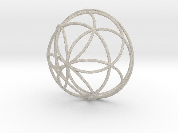 3D 100mm Half Orb of Life (3D Seed of Life)  in Natural Sandstone
