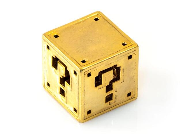 8 bit Mario Block in 18K Gold Plated