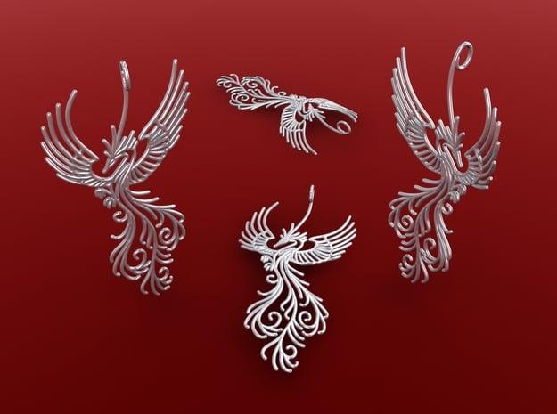 Phoenix pendant  6cm in Polished Silver