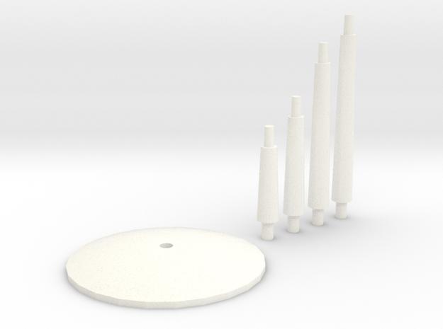 Plain Spare Flight Stands in White Processed Versatile Plastic