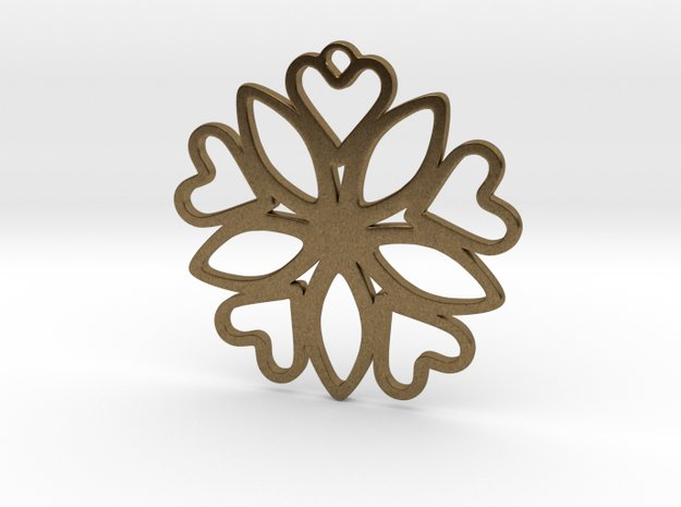 Heart Pendant - Floral  in Natural Bronze