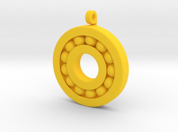 Ball Bearing Pendant in Yellow Processed Versatile Plastic