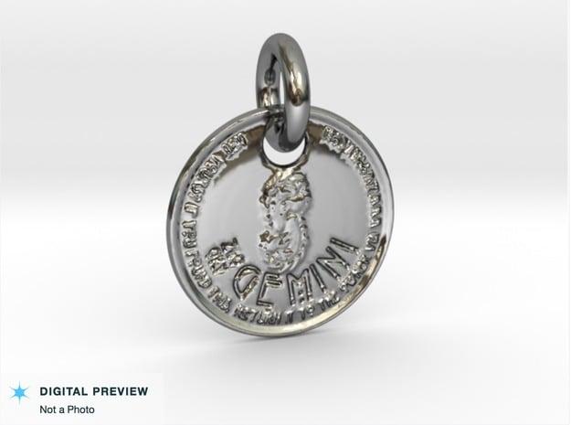 ZWOOKY Style 202 - pendant zodiac - Gemini in Fine Detail Polished Silver