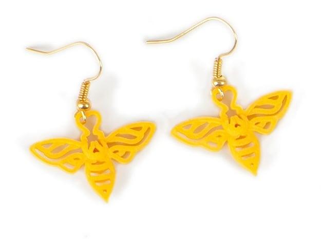 Bee Earrings in Yellow Processed Versatile Plastic