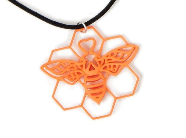The Bee Pendant in Orange Processed Versatile Plastic