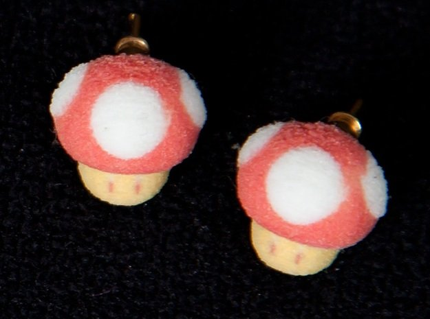 Super Mario Mushrooms Earrings in Full Color Sandstone