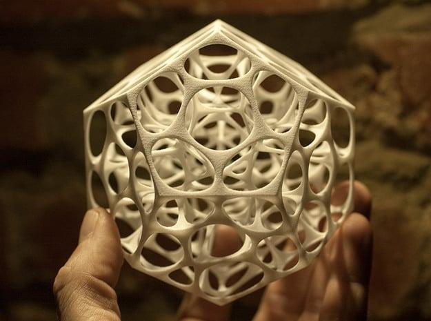 Voronoi Dodecahedron in White Natural Versatile Plastic
