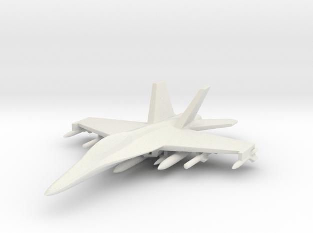 1/285 (6mm) F-18 Super Hornet w/Ordnance Pack-2 in White Natural Versatile Plastic