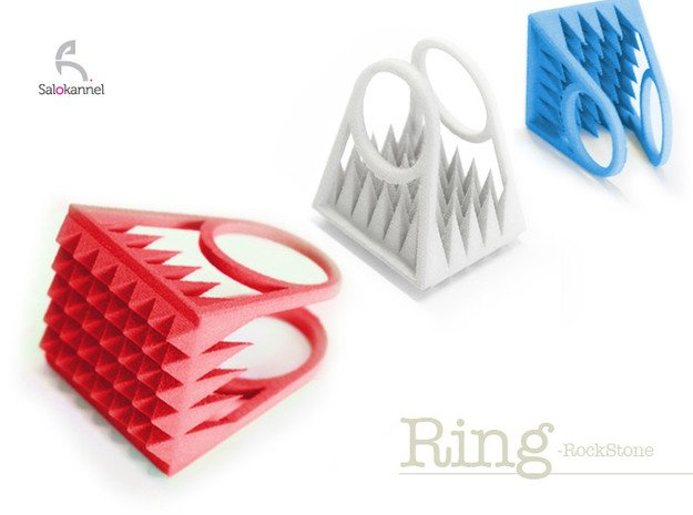 RockStone - ring size 9 in Red Processed Versatile Plastic